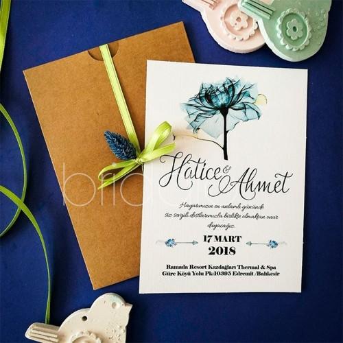 Mavi Çiçekli Davetiye