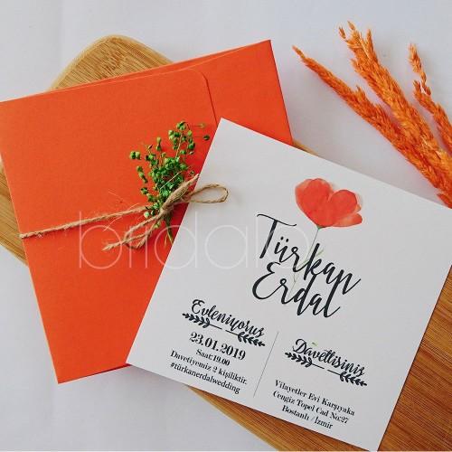 Orange flowers davetiye