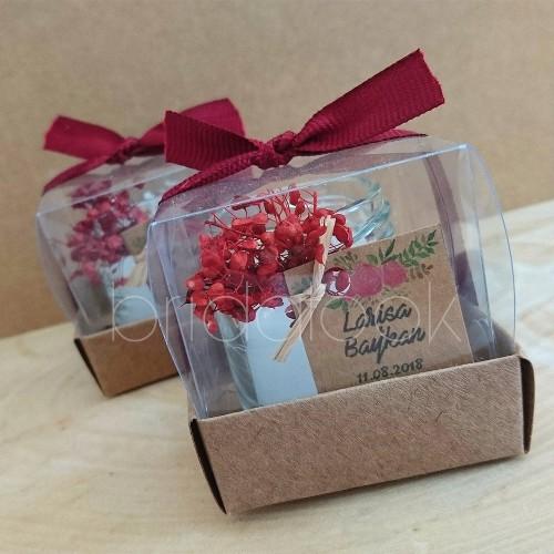 Bordo Çiçekli Kutu Mum