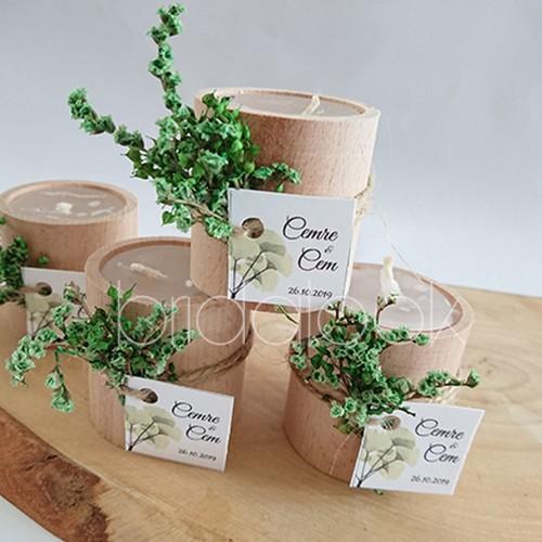 Yeşil Kuru Çiçekli Kütük Mum