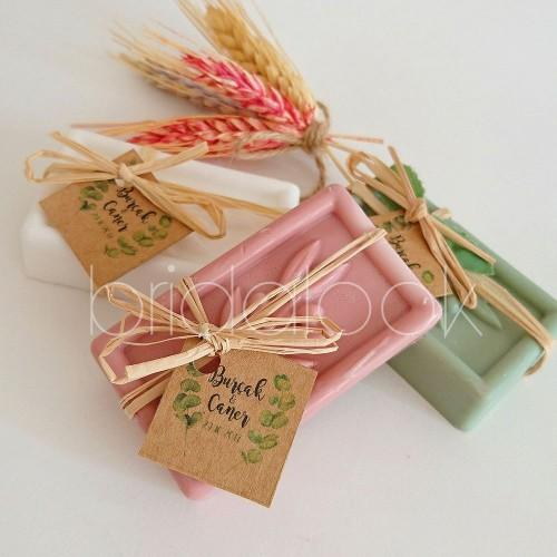 Zeytin Dalı Desenli Karışık Renkli Sabunlar